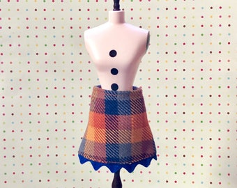 Blue and Orange Plaid Mod Mini Skirt for Blythe
