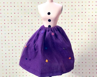 Purple Netted Simple Swing Skirt for Blythe