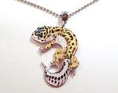 Handcrafted Plastic Leopard Gecko Lizard Reptile Necklace Pendant