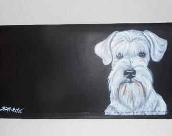 White Schnauzer Dog Custom Painted Leather Checkbook Cover