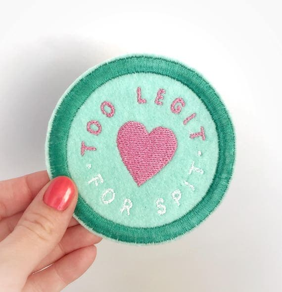 Too Legit For Spit Patch. Diaper bag patch. Baby shower gift ideas. New mommy gift. Expecting mom gift. Art patch. Mom patch. Cute mom gift.