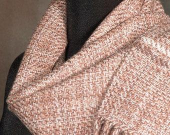 Handwoven merino wool winter scarf / fawn tan