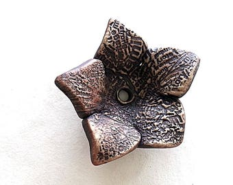 Rustic  Texture of Words Stoneware Ceramic Flower  by Mary Harding