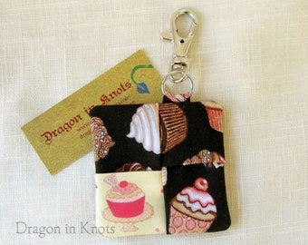 Cupcakes Earbud Holder - Dessert Guitar Pick Case, Black Fabric Keychain Pocket with Swivel Clip, sweet foods, with a cherry on top