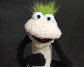 Sock Puppet Creature, Hand and Rod Puppet, Lime Green Hair, White Body, Blue Eyes, Arm Rods