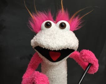 Sock Puppet Monster, Hand and Rod Puppet, White Sock Puppet, Pink Bushy Eyebrows, Arm Rods