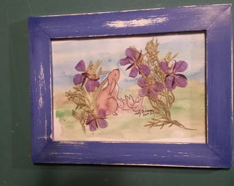 Watercolor Print Rabbit & Babies Framed Picture Embellished with Pressed Flowers