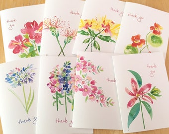 8 Watercolor Floral Thank You Note Cards - Watercolor Botanical Note Cards - Floral Watercolor Variety Thank You Card Set