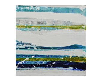 "ORIGINAL Abstract Painting ""Aqua 08"" by Lisa Carney, Modern Art, Minimalist Painting, Stripes, Geometric, Contemporary, White, Blue, Yellow"