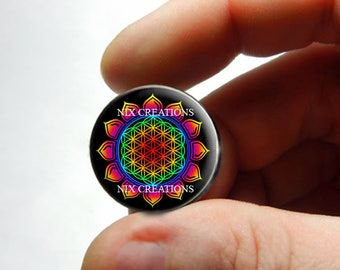 Glass Cabochon - Rainbow Flower of Life Design 2 - for Jewelry and Pendant Making