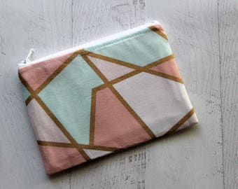 Zipper pouch - mint and gold zippered bag - small makeup bag - purse organizer - bridesmaids gifts - essential oils holder