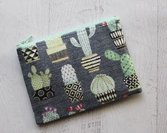 cactus zip pouch - small makeup bag - cacti print bag - gifts for wife - cactus gifts - cactus print bag - potted cactus