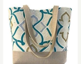 SALE Large tote bag, Handbag, handbags and purses, Totes, Trellis, tan, tote bag with pockets, shoulder bag,
