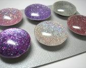 Glitter Magnet Set - Sparkle Magnets - Set of 6 Magnets - Pinks and Purples