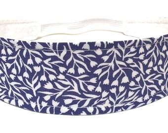 Girls Blue Floral Headband, Kids, Baby, Toddler, Reversible Fabric Headband, Blue, White, Floral Headband - NAVY BLUE VINES