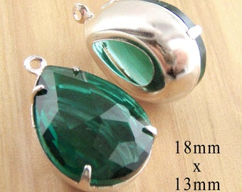 SALE PRICE - Three Pairs - Emerald Green Glass Beads - 18mm x 13mm Pear or Teardrop - Sheer No Foil Rhinestones - Bulk Jewelry Supplies