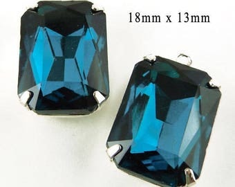 Blue Zircon Glass Beads - 18x13 Octagons - Silver or Brass Prong Settings - 18mm x 13mm Rhinestones - Jewelry Supply - One Pair