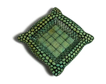 Ceramic Platter - Small Turquoise Tray with Black Doodle Design with Feet