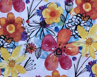 """NEW! """"Totally Totable"""" Weighted Lap Blanket - Adult or Child - Bright Watercolor Flowers - Choose your weight and minky color"""