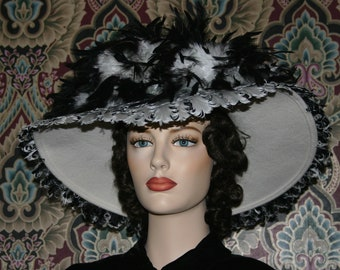 Kentucky Derby Hat Ascot Edwardian Hat Titanic Somewhere Time Hat Downton Abbey Hat Feathered Women's Hat - Lady Anna - Many Colors