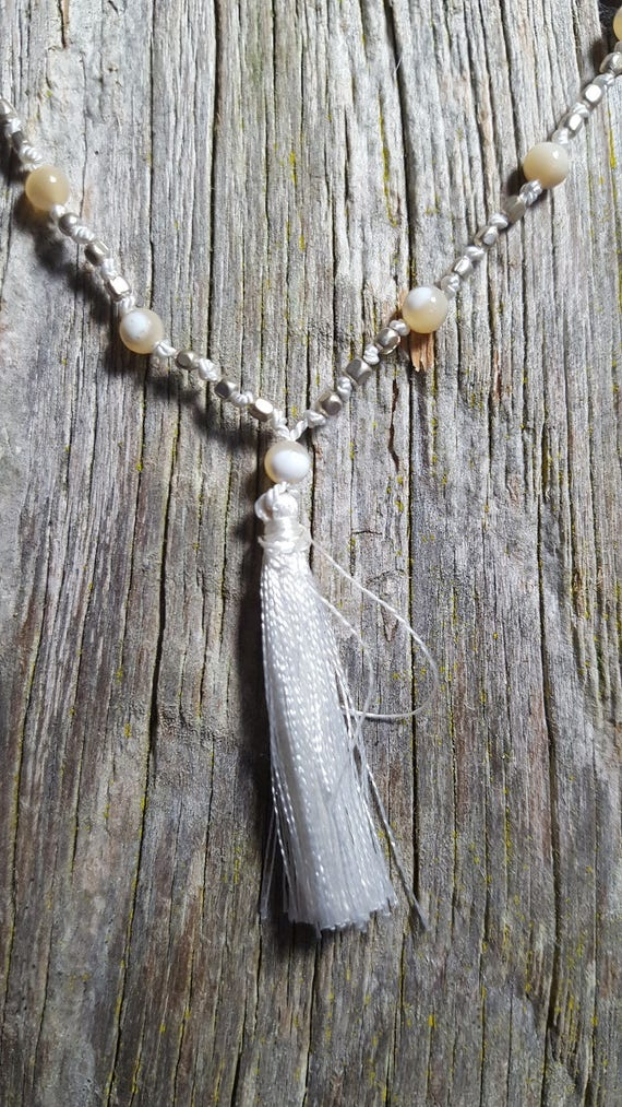 Tassel Necklace Mother of Pearl and Silver