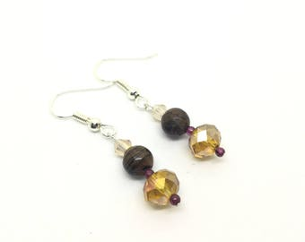 Tiger's Eye and Faceted Glass Drop Earrings