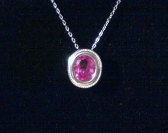 ON SALE 10x8mm Pink Sapphire Pendant,10x8mm Pink Sapphire Necklace,Sapphire Pendant,Sapphire Necklace