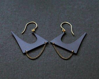 NEW Zoe statement black Earrings - modern matte black edgy earrings her original gift idea unusual jewelry for women unique gold large big