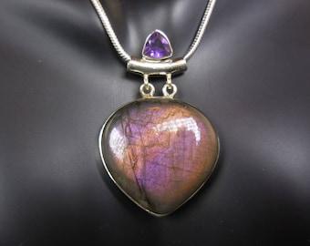 Labradorite & amethyst gemstone sterling silver pendant/necklace