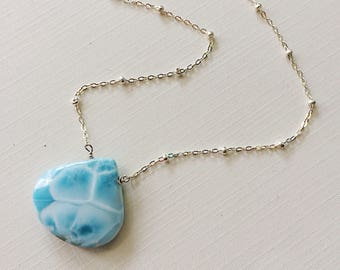 Large Larimar Solitaire Necklace