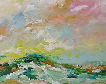 Abstract Landscape Acrylic Painting Giclee Print Impressionist Art Clouds Moors Made To Order Large Fine Art Print Wall Decor Linda Monfort