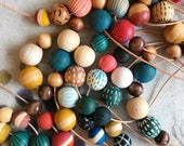 NEW Hand Painted Wooden Bead Necklace in Neutrals or Brights,  Anna Joyce, Portland, OR.
