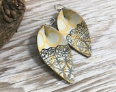 Weathered Leather Earrings-Remnants Collection-Small Pinched Leaves-Boho Earrings-Bohemian Graffiti
