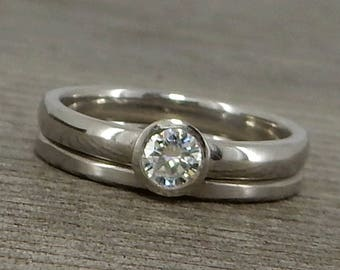 Moissanite Rings - Round Brilliant Forever One G-H-I Moissanite and Recycled 950 Palladium Engagement and Wedding Ring Set, Made to Order