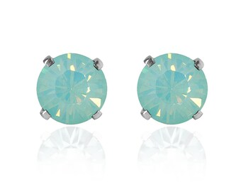 Swarovski Crystal Stud Earrings Sterling Silver Chrysolite Opal or CHOICE of COLOURS