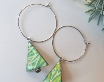 holiday baubles...earrings...festive christmas tree hoops