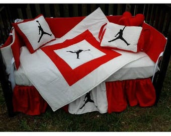 NEW 9 piece baby crib bedding set in red/white Michael Jordan JUMPMAN w/ Diaper Bag and Mobile Accessory
