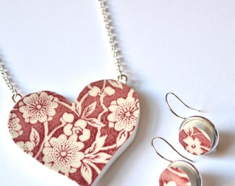 Broken China Jewelry Heart Pendant and Earring Set - Red Calico