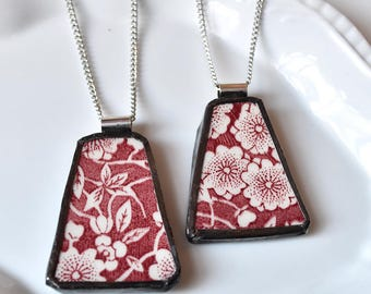 You ComPlate Me - Matching Broken Plate Friendship Necklaces - Red Floral - Recycled China