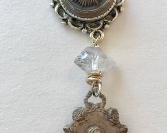 Saint Louis Catholic medal necklace with vintage button