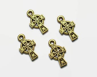 4 Small Celtic Cross Charms Antiqued 22k Gold Over Pewter Tierracast
