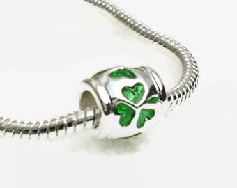 Irish Shamrocks Large Hole European Bead Translucent Green Barrel Style Silver Plated