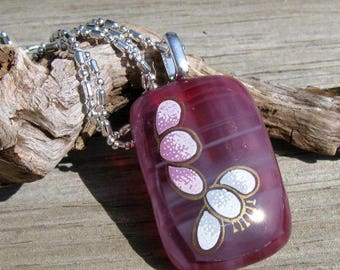 Sweetheart Blush Fused Glass and Sterling Necklace