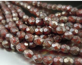 25% OFF Sale Czech Glass Bead 6mm Faceted Round Bead - Faceted Round Beads Oxblood Copper Stone Picasso - 25 (G - 470)
