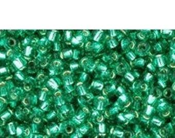 "25% OFF Sale 11/0 Toho Seed Beads -  Silver Lined Dark Peridot - 2.5"" Tube"