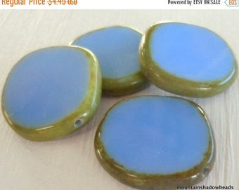 20% Summer SALE NEW - Czech Picasso Beads - X Large Coin Opaque Blue Table Cut 21mm - 4 (G - 633)