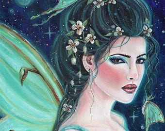 I'll always be dream Luna moth fairy portrait floral print by Renee L. Lavoie