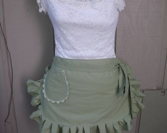 Womens Aprons - Green Aprons - Sage Aprons - Green Ruffled Aprons - Handmade Sage Green Aprons - Annies Attic Aprons - Sage Green Aprons