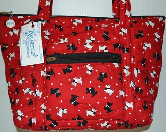 Quilted Fabric Handbag Purse Red with Adorable Westie Scottie Dogs