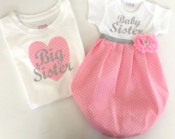 Big Sister Little Sister OUTFITS .. Shabby chic Pink polka dots baby gown - silver writing -big sister tshirt ...new baby..baby shower